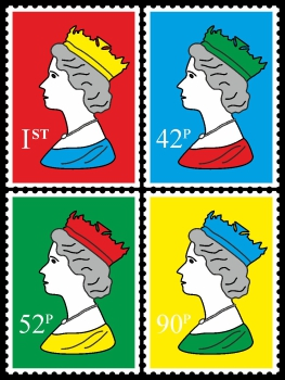 Royal Stamp Queen Four Colour Quartett One POP (Paint On Print) Art