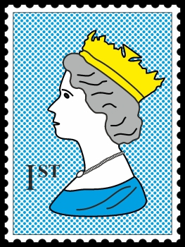 Royal Stamp Queen Blue Dots POP (Paint On Print) Art