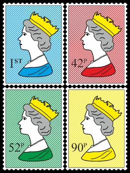 Royal Stamp Queen Four Colour Dots Quartett One POP (Paint On Print) Art