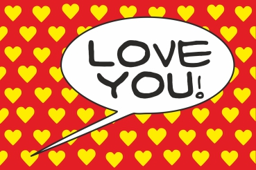 Love You! Red-Yellow POP (Paint On Print) Art