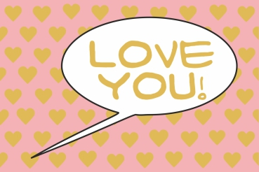 Love You! Gold-Pink POP Poster