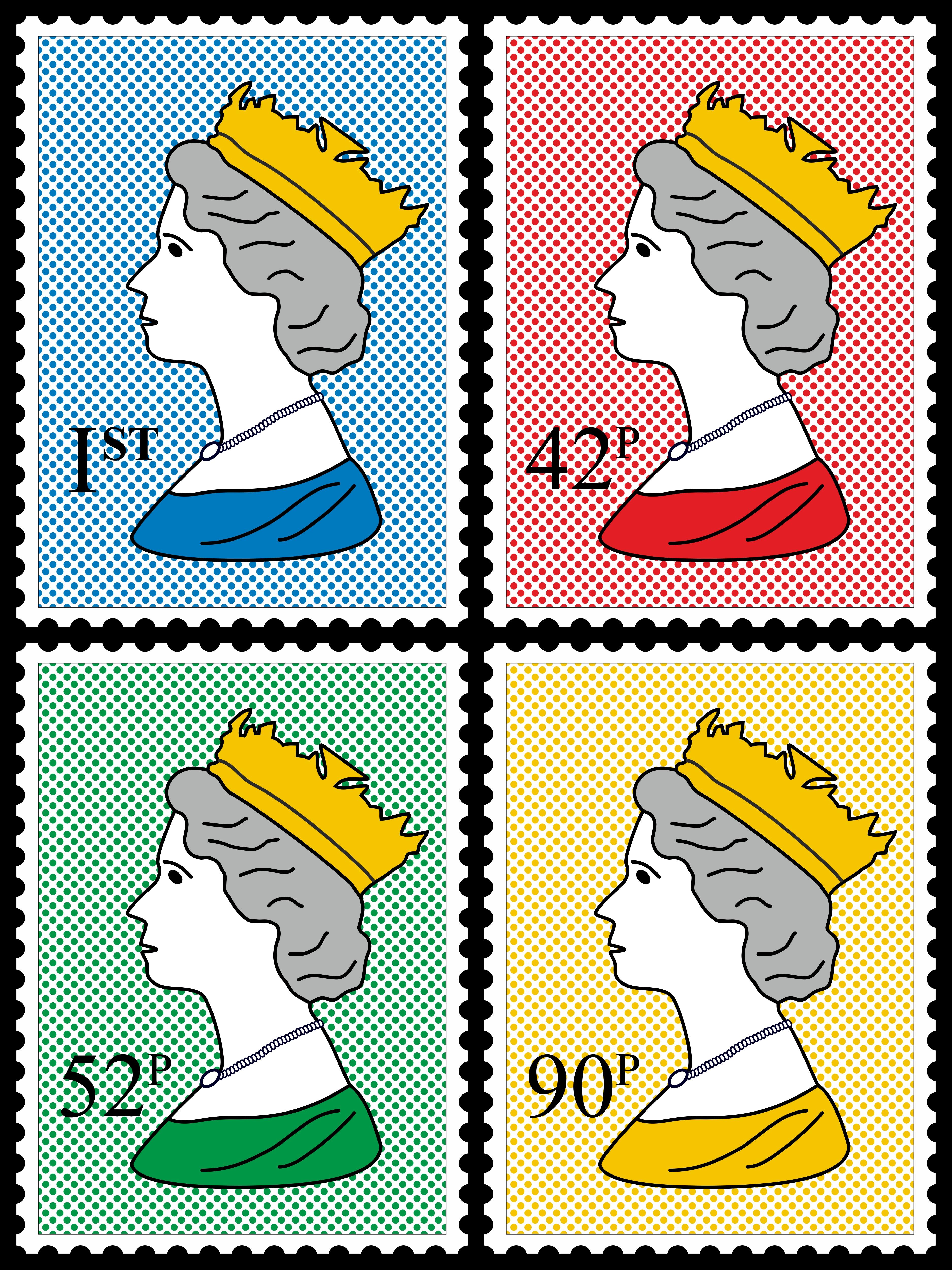 pop art gallery royal stamp poster 70x100cm high gloss art print