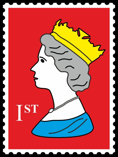 Royal Stamp Queen Red POP (Paint On Print) Art