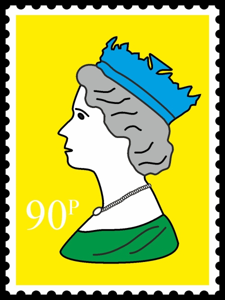 Royal Stamp Queen Yellow POP (Paint On Print) Art