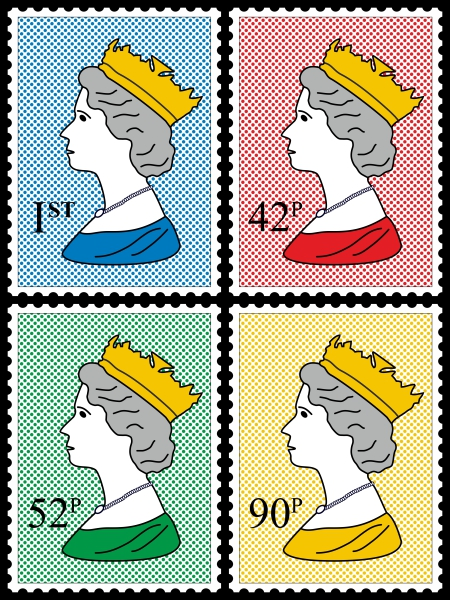 Royal Stamp Queen Four Colour Dots Quartett One Poster 70x100cm High Gloss Art Print
