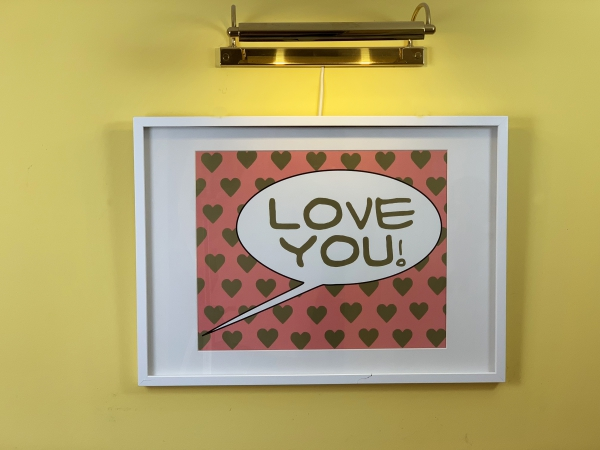 """Love You"" Pop Art Poster Special Edition DIN A2 (59x42cm) High Gloss Gold Pink"